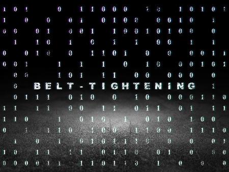 glow in the dark: Finance concept: Glowing text Belt-tightening in grunge dark room with Dirty Floor, black background with Binary Code
