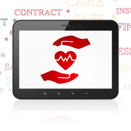 palm computer: Insurance concept: Tablet Computer with  red Heart And Palm icon on display,  Tag Cloud background Stock Photo