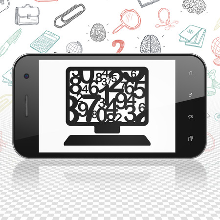 computer education: Learning concept: Smartphone with  black Computer Pc icon on display,  Hand Drawn Education Icons background