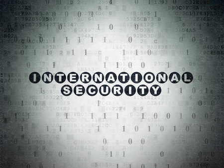 privat: Protection concept: Painted black text International Security on Digital Paper background with Binary Code