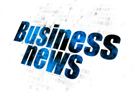 News concept: Pixelated blue text Business News on Digital background