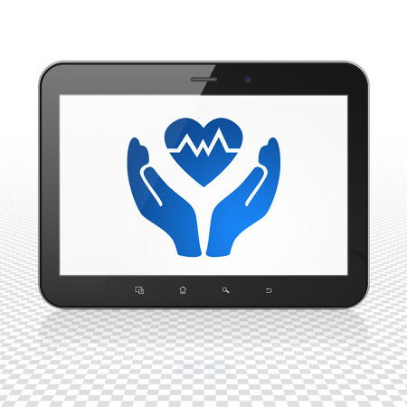 palm computer: Insurance concept: Tablet Computer with  blue Heart And Palm icon on display,  Tag Cloud background Stock Photo
