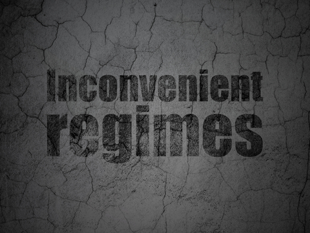inconvenient: Political concept: Black Inconvenient Regimes on grunge textured concrete wall background Stock Photo