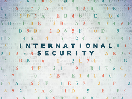 international security: Security concept: Painted blue text International Security on Digital Paper background with Hexadecimal Code