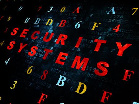 sistema: Concepto de seguridad: pixelada Sistemas de Seguridad de texto de color rojo sobre fondo de pared digital con c�digo hexadecimal Foto de archivo