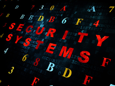 security technology: Security concept: Pixelated red text Security Systems on Digital wall background with Hexadecimal Code