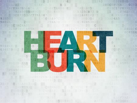 heartburn: Healthcare concept: Painted multicolor text Heartburn on Digital Paper background Stock Photo