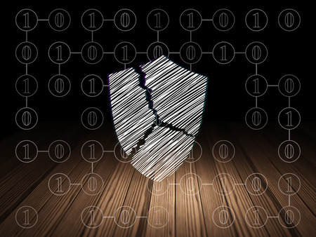 broken strategy: Protection concept: Glowing Broken Shield icon in grunge dark room with Wooden Floor, black background with Scheme Of Binary Code Stock Photo