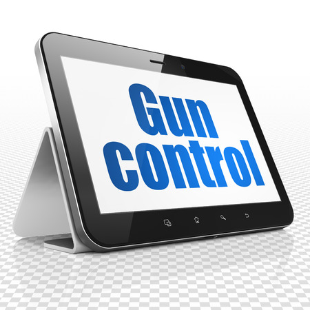 gun control: Security concept: Tablet Computer with blue text Gun Control on display