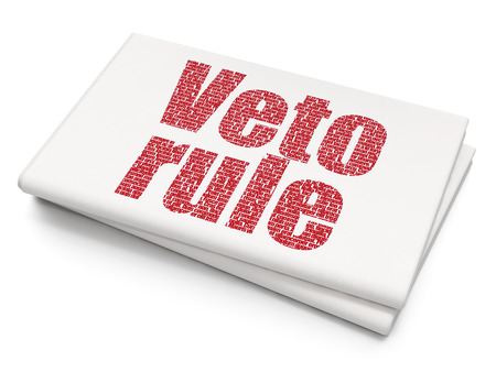 veto: Politics concept: Pixelated red text Veto Rule on Blank Newspaper background Stock Photo