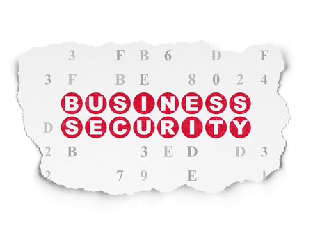 hexadecimal: Protection concept: Painted red text Business Security on Torn Paper background with  Hexadecimal Code Stock Photo