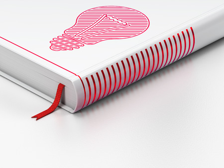 closed book: Business concept: closed book with Red Light Bulb icon on floor, white background, 3d render