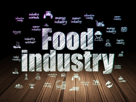 food industry: Manufacuring concept: Glowing text Food Industry,  Hand Drawn Industry Icons in grunge dark room with Wooden Floor, black background Stock Photo