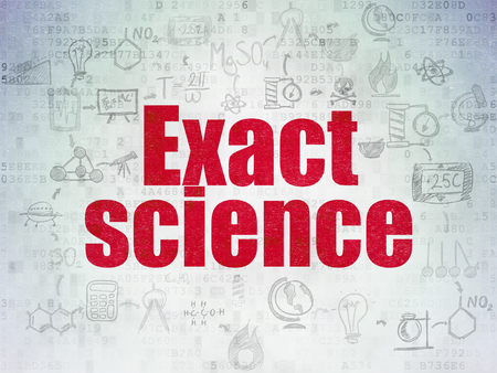 exact science: Science concept: Painted red text Exact Science on Digital Paper background with  Scheme Of Hand Drawn Science Icons