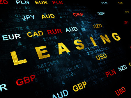 leasing: Finance concept: Pixelated yellow text Leasing on Digital wall background with Currency