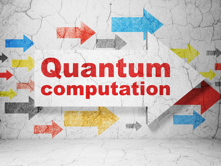 computation: Science concept:  arrow with Quantum Computation on grunge textured concrete wall background