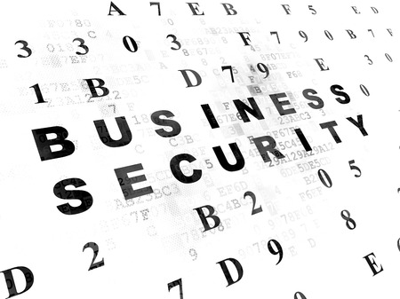 hexadecimal: Protection concept: Pixelated black text Business Security on Digital wall background with Hexadecimal Code