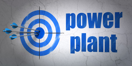 hitting a wall: Success Industry concept: arrows hitting the center of target, Blue Power Plant on wall background