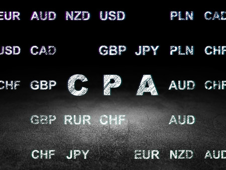 cpa: Business concept: Glowing text CPA in grunge dark room with Dirty Floor, black background with Currency
