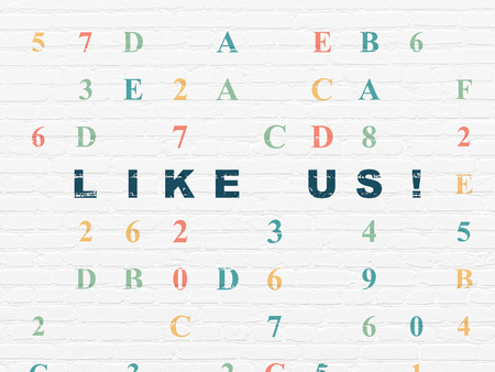 microblog: Social media concept: Painted blue text Like us! on White Brick wall background with Hexadecimal Code