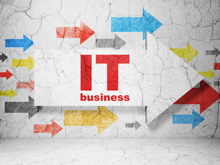 business it: Business concept:  arrow with IT Business on grunge textured concrete wall background Stock Photo