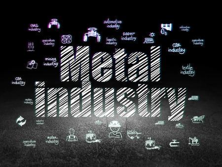drawn metal: Manufacuring concept: Glowing text Metal Industry,  Hand Drawn Industry Icons in grunge dark room with Dirty Floor, black background