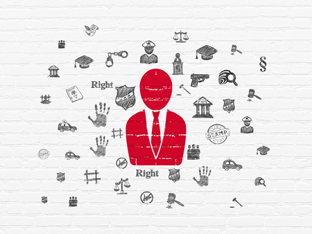 criminal act: Law concept: Painted red Business Man icon on White Brick wall background with  Hand Drawn Law Icons Stock Photo