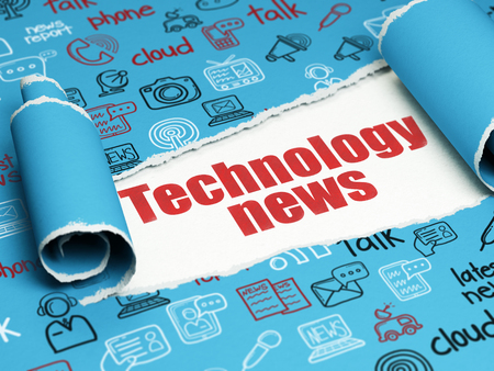 bad news: News concept: red text Technology News under the curled piece of Blue torn paper with  Hand Drawn News Icons Stock Photo