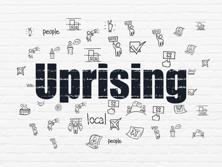 uprising: Political concept: Painted black text Uprising on White Brick wall background with  Hand Drawn Politics Icons Stock Photo