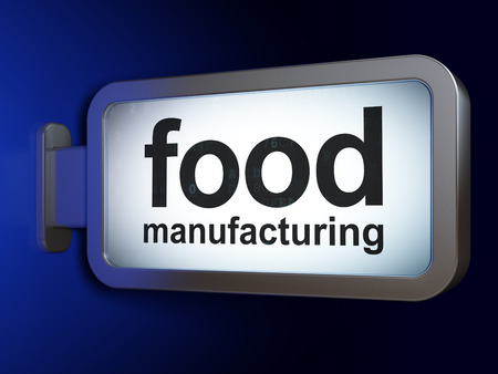 food industry: Industry concept: Food Manufacturing on advertising billboard background, 3d render Stock Photo