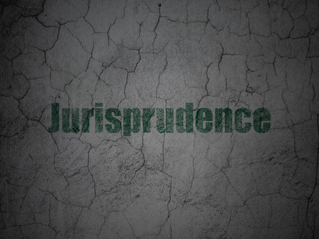 jurisprudence: Law concept: Green Jurisprudence on grunge textured concrete wall background