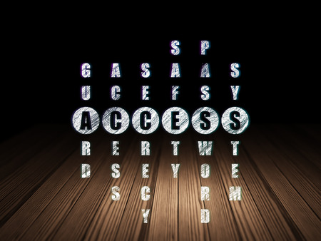 room access: Safety concept: Glowing word Access in solving Crossword Puzzle in grunge dark room with Wooden Floor, black background