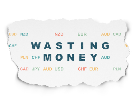 wasting: Money concept: Painted blue text Wasting Money on Torn Paper background with  Currency