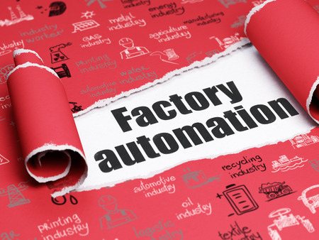 factory automation: Industry concept: black text Factory Automation under the curled piece of Red torn paper with  Hand Drawn Industry Icons Stock Photo