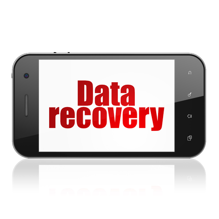 data recovery: Data concept: Smartphone with  red text Data Recovery on display,  Tag Cloud background