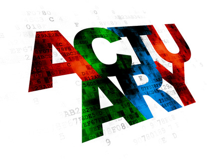 actuary: Insurance concept: Pixelated multicolor text Actuary on Digital background Stock Photo