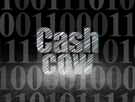 cash cow: Business concept: Glowing text Cash Cow in grunge dark room with Dirty Floor, black background with  Binary Code