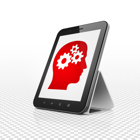 head tag: Business concept: Tablet Computer with  red Head With Gears icon on display,  Tag Cloud background