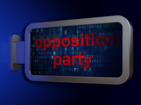 opposition: Political concept: Opposition Party on advertising billboard background, 3d render