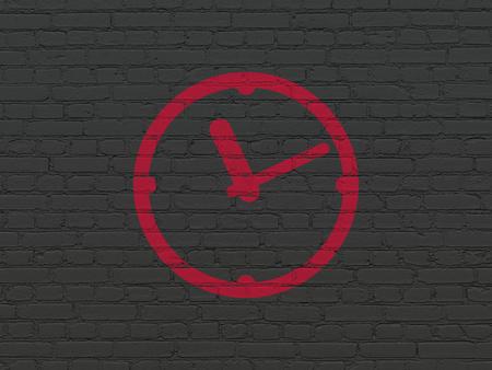 cronologia: Concepto de l�nea de tiempo: Pintadas icono Reloj rojo sobre fondo de pared de ladrillo Negro