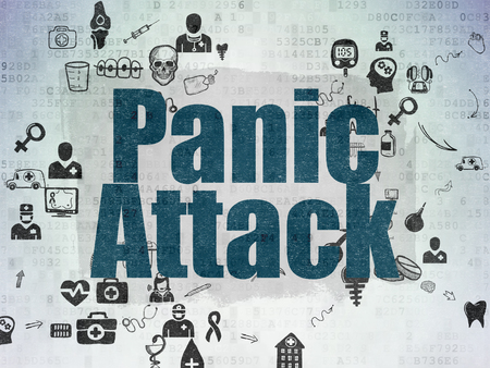 panic attack: Healthcare concept: Painted blue text Panic Attack on Digital Paper background with Scheme Of Hand Drawn Medicine Icons