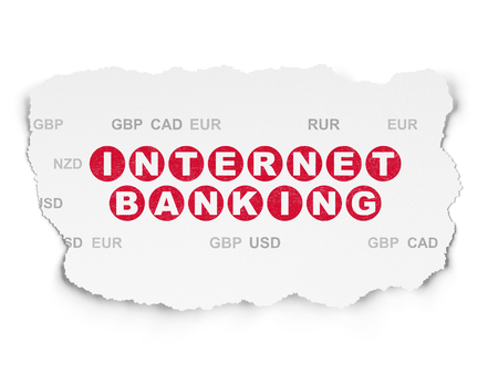 banking concept: Banking concept: Painted red text Internet Banking on Torn Paper background with  Currency