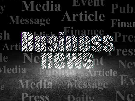 business news: News concept: Glowing text Business News in grunge dark room with Dirty Floor, black background with  Tag Cloud