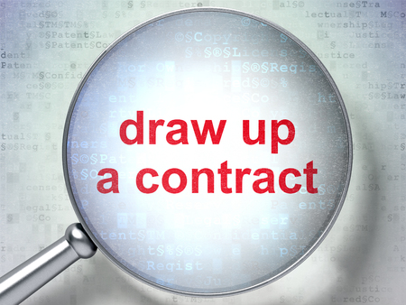 data protection act: Law concept: magnifying optical glass with words Draw up A contract on digital background