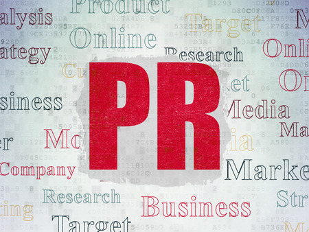 pr: Marketing concept: Painted red text PR on Digital Paper background with   Tag Cloud
