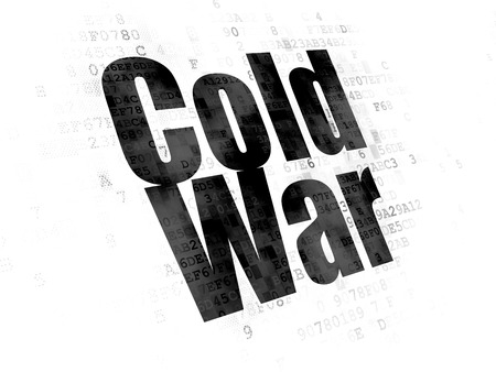 cold war: Political concept: Pixelated black text Cold War on Digital background Stock Photo