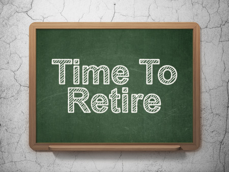 retire: Timeline concept: text Time To Retire on Green chalkboard on grunge wall background Stock Photo