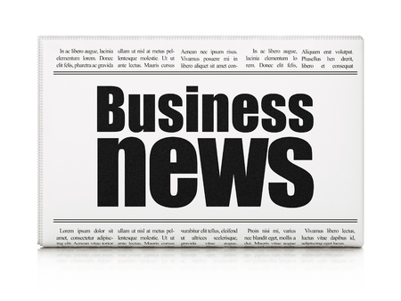 newspaper headline: News concept: newspaper headline Business News on White background, 3d render Stock Photo