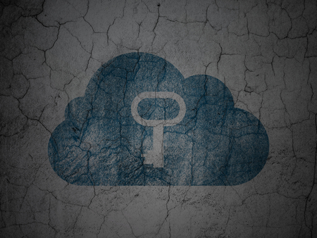 wall cloud: Cloud networking concept: Blue Cloud With Key on grunge textured concrete wall background