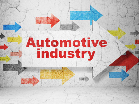 automotive industry: Industry concept:  arrow with Automotive Industry on grunge textured concrete wall background